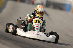 Tristan&#039;s go-cart can hit speeds of up to 100 mph.