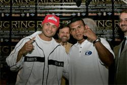Rabah grins with promoter Sampson Lewkowicz, Urango, and Urangos manager, Luis Navarro