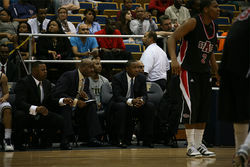 Isiah Thomas watches his Golden Panthers struggle to keep pace with the Arkansas State Red Wolves.
