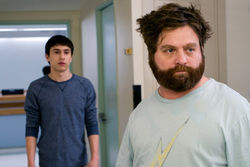 Keir Gilchrist (left) and Zach Galifianakis in It's Kind of a Funny Story