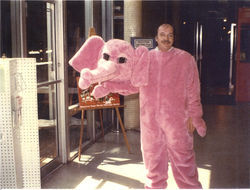 Horkheimer dressed as an elephant to promote a 1991 laser show of  The Wall.