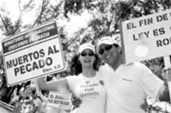 Among the participants at the Tropical Park protest are  Alvaro Albarracin and Martita Roca