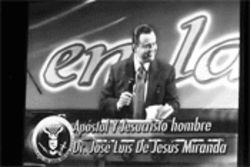Instead of live sermons, members of Creciendo en Gracia's  300 congregations usually watch simulcast footage of De  Jesus preaching