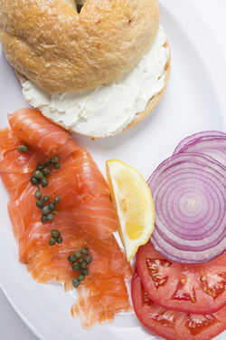 Bagel with lox and cream cheese. View a slide show of Josh's Delicatessen & Appetizing.