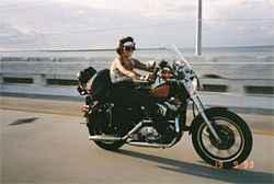 Joyce when she still rode a Harley