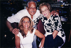 Carefree days: Joyce with stepfather, David, and mother, Aida, before Alzheimer's (above); Joyce when she still rode a Harley (top)