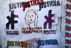 Activist Susana Molina and her collective put up their own graffiti images to counteract the violent ones.