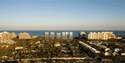 If Key Biscayne's politicians allow it, six new towers (as  pictured in this rendering from the developer) will stand  along the island's eastern skyline