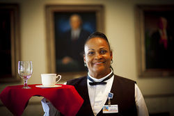 Khalilah works the lunch shift at Mount Sinai&#039;s dining hall.