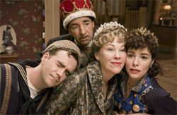 Ricky Gervais (left), Harry Shearer, Catherine O'Hara, and Parker Posey