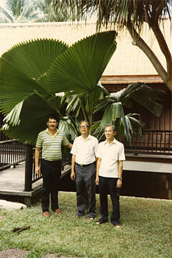 Hull in the early Eighties with his benefactor, Watana Sumawong (center), and another palm society member in Bangkok.