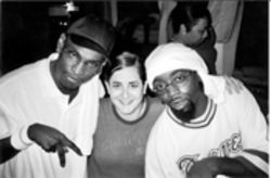 Tamara Palmer (center) with her literary subjects, D-Roc (left) and Kaine  (right) of the Ying Yang Twins