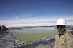 Lithium comes from brine that flows beneath the flats.