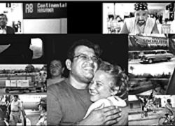 Click to enlarge photo  Tony and his sister Maria Eugenia (center) are finally reunited following the journey from Miami (left column and right column, top to bottom): The Continental departure gate at MIA; from a window seat in row 13, Tony sees Cuba for the first time in 32 years; abuela's body is removed from the cargo hold; Tony touches down at José Martí International Airport; Tony's provocative friend from Miami, José Diaz; common on the streets of Cuba: old American cars and socialist propaganda; during the journey from Havana, Tony sees through the window a Cuban countryside unchanged since he left; curious Cubans step aside as the red van passes through small towns on the way to Bayamo