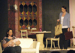 Marina Catalan (left) and Lali Navarro in the Main Street Players&#039; production of Living Out.