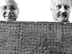Anton (left) and Frank with a small section of their creation. Each small bundle represents 100 picks