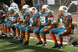 Miami's offensive line catches a breather.