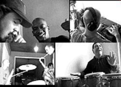 Havana garage scene (clockwise from top left): Doble Filo (Edgar Gonzalez and Irak Saenz) shout out for Cuba; Le Spam at the controls; Sammy Figueroa with his borrowed congas; and DJ Le Spam (Andrew Yeomanson) jams with saxophonist Carlos Averhoff, Jr.