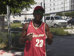 Miami homeless man &quot;Patches&quot; sports his new LeBron Cavs jersey.