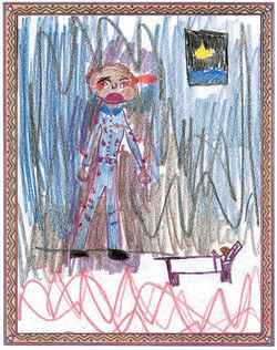 Eight-year-old Miguel, who drew himself in the tiny bed at his picture's right edge, tries to aid his father's spirit. His father was burned with matches, then shot dead by robbers, and appears here in bloodied work clothes covered with tiny flames. Miguel says his father was searching desperately for the warrior angels.