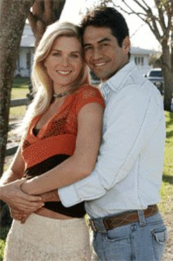 Sonya Smith as Victoria and Gabriel Porras as Diego