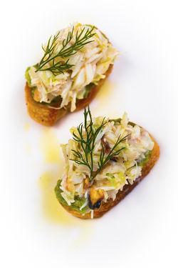Stone crab crostini