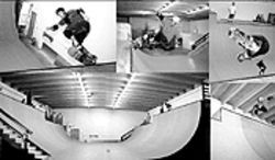 Robbie Weir (top left) and Alan Gelfand (other pictures) practice making funny faces at the Olliewood ramp