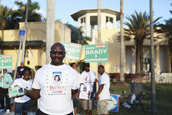 South Dade High School teacher Israel Andrews in front of city hall last month.