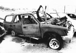 Remains of Schiller&#039;s vehicle: A drunken driver, an immobile object, a splash of gasoline