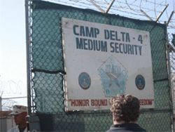 Entrance to Camp 4, where detainees live in communal  barracks