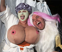 Perez Hilton (right) scares the Halloween crowd during his pool party at Harrah&#039;s Atlantic City in 2007.