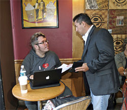 Perez Hilton gets served with a lawsuit at his old blogging HQ, the Coffee Bean & Tea Leaf on Sunset Boulevard in L.A.