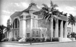 A vintage-postcard view of Miami's Scottish Rite Temple