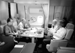 Aboard Air Force One (left) Miami Rep. Mario Diaz-Balart has the president&#039;s ear