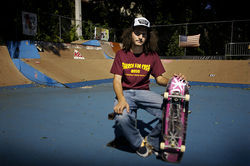 Skater Seth Levy (pictured here) has failed to convince Temple Israel's past president Stanley Tate that the skate park is a great idea.