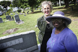 Penny Lambeth (left) and Enid Pinkney think a skate park doesn't fit next to Miami's oldest cemetery.