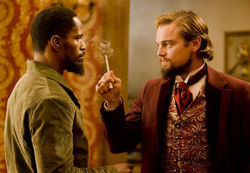 Jamie Foxx and Leonardo DiCaprio in Tarantino&#039;s Django Unchained.