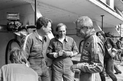 Don (left) and Bill Whittington (center) chat with actor Paul Newman at the Le Mans race in 1979.
