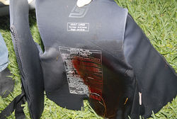 The life vest Reynaldo Munoz Jr. was wearing when he was fatally shot.