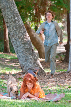 Zoe Kazan as Ruby, and Paul Dano as Calvin.