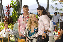 Jason Segel, Kristen Bell, and Russell Brand: Three's a crowd.