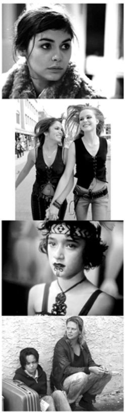 Women of 2003: Top to bottom, Audrey Tautou in  Dirty Pretty Things,  Evan Rachel Wood and  Nikki Reed in thirteen, Keisha Castle-Hughes in  Whale Rider, Christina Ricci and Charlize  Theron in Monster