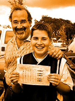 Felix Gonzalez and son Andres, who demolished 51 out of 100 targets on the shotgun links