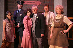 The Urinetown six: Franco, Ballard, Hollander, Baker, Sessions, and Jones