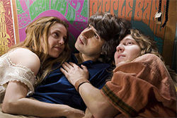 Kelli Garner (left), Demetri Martin, and Paul Dano in Taking Woodstock