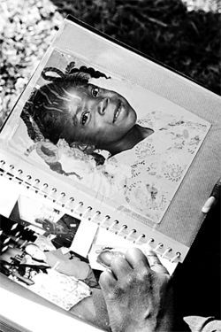 Lola Davis (left), in her twenties, poses at a Liberty City park; Harolyn Davis flips through old photos of her big sister; a teenage Lola relaxes on her grandmother's porch in Opa-locka; Lola as a pigtailed eight-year-old