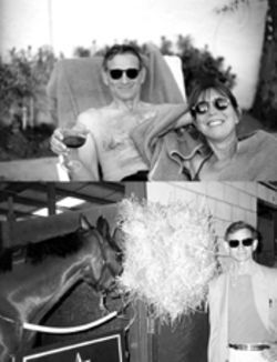 Marcus and Durbin in Palm Springs (top) shortly after he was diagnosed with ALS; Marcus with one of his thoroughbreds (bottom)