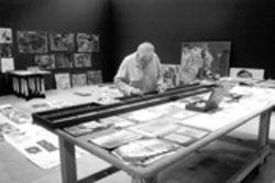 Artist Salvatore La Rosa at work in his temporary  studio space