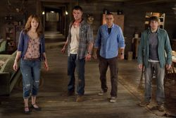 Kristen Connolly, Chris Hemsworth, Jesse Williams, and Fran Kranz in The Cabin in the Woods.