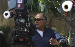 Director Abbas Kiarostami on the set of Like Someone in Love.
